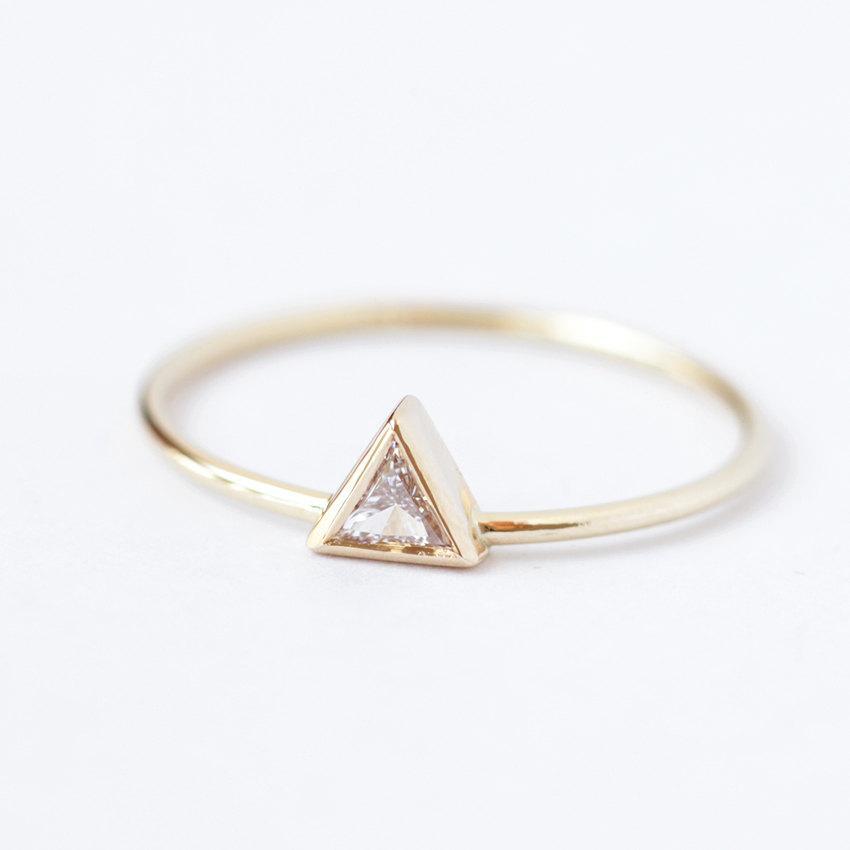 Wedding - Diamond Engagement Ring - Triangle Diamond Ring - 0.11 Carat Trillion Diamond - 14k Gold