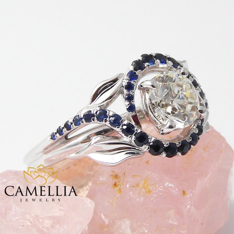 White Gold Natural Diamond Engagement Ring Unique Blue Sapphire Engagement  Ring Unusual Diamond Ring Natural Sapphire Ring
