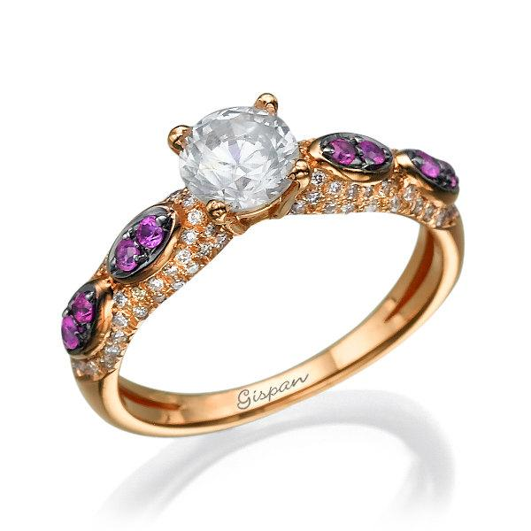Wedding - Vintage Engagement Ring Diamond Ring Wedding Ring Art Deco Ring Vintage Diamond Ring Rose Gold Antique Engagement Bridal Jewelry Ruby