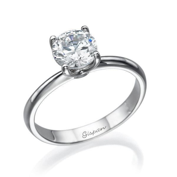 Solitaire Engagement Ring White Gold Diamond Ring Wedding Ring Wedding Band Engagement Band