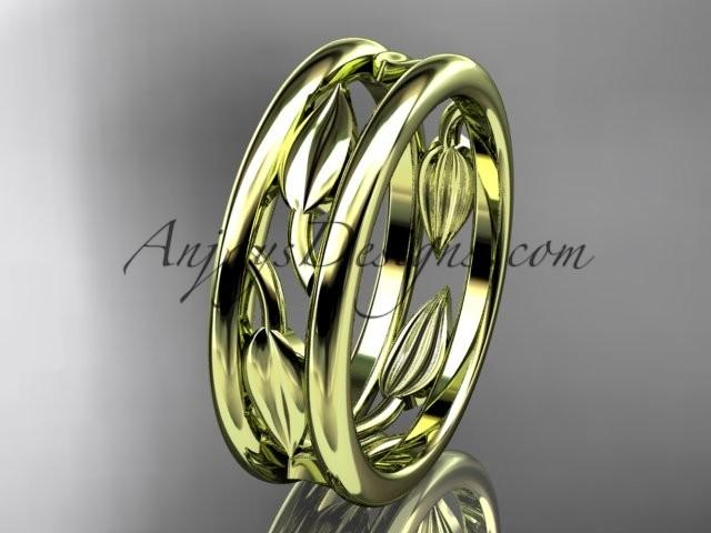 Nozze - 14kt yellow gold leaf wedding band, engagement ring ADLR400G