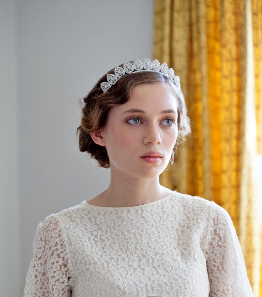 Hochzeit - 1930s wedding headpiece - Antique style Tiara - Silver crystal Headpiece -1940s wedding Headpiece - Agnes Hart UK