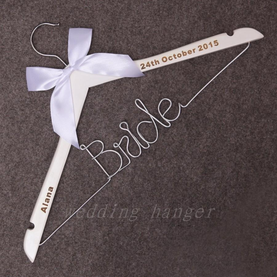 Bride wire hanger personalized wire hanger bride for Personalized wire wedding dress hanger