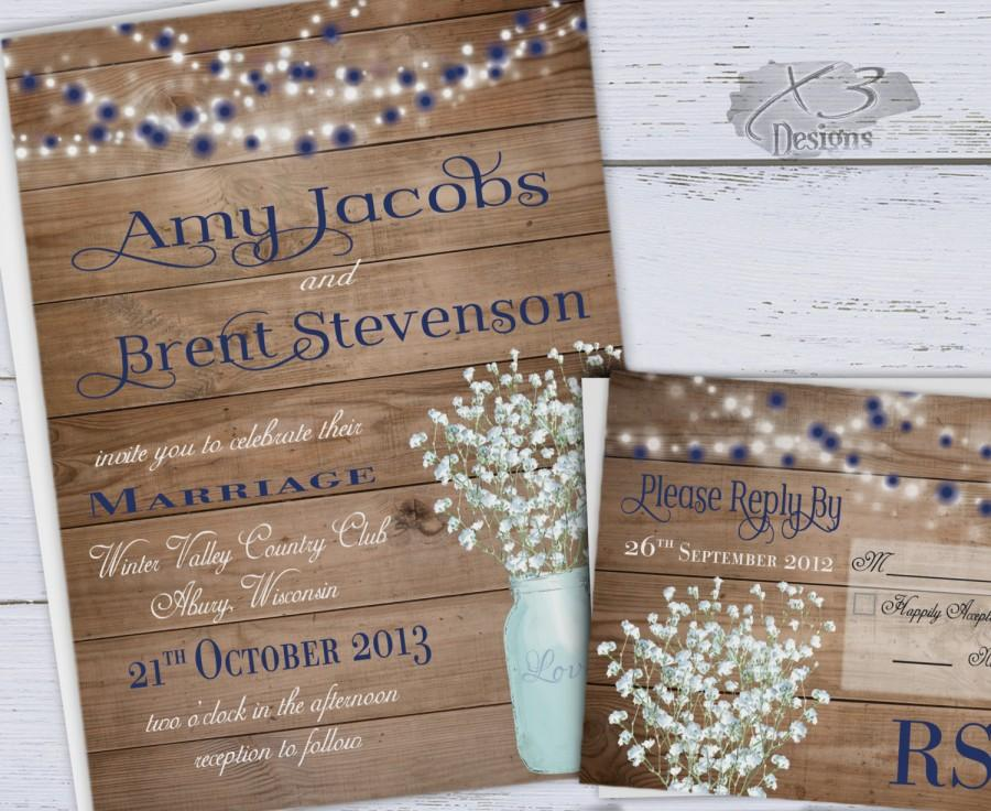 rustic wedding invitation printable summer wedding invitation winter mason jar wedding invite babys breath w blue white string lights - Summer Wedding Invitations