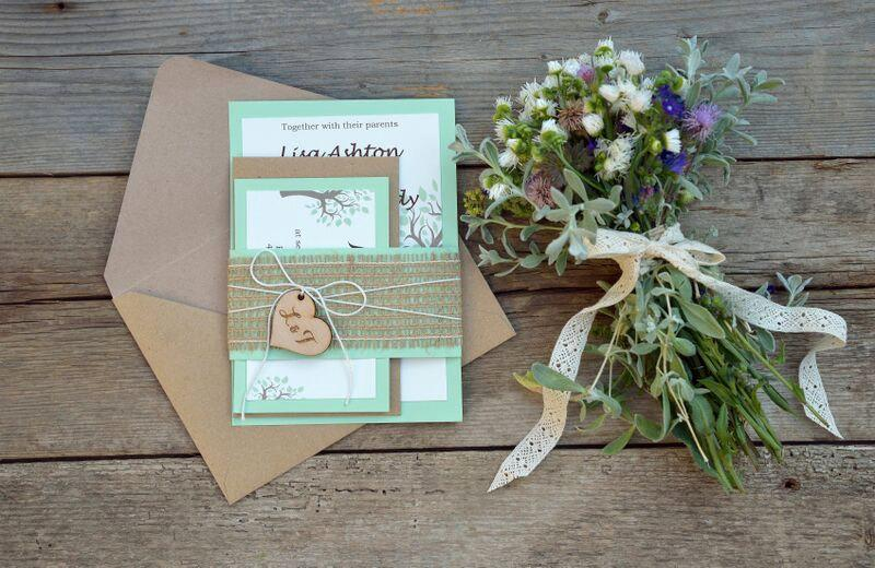 Rustic Wedding Invitation Suite Mint Green Wedding Invitation Suite