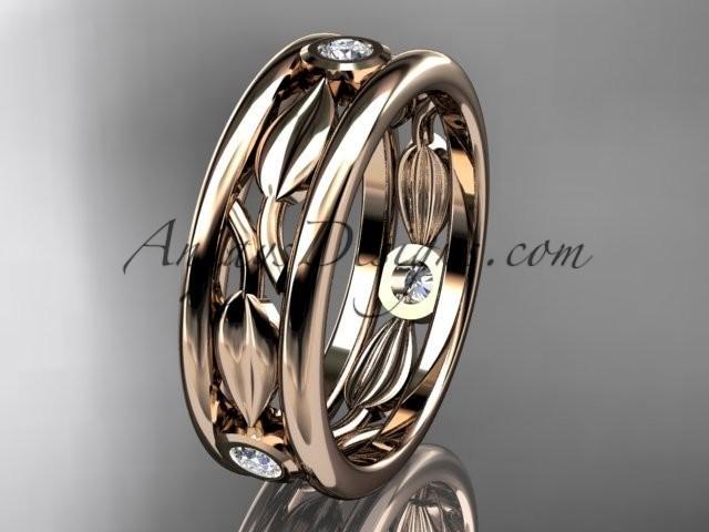 Wedding - 14kt rose gold diamond leaf wedding band, engagement ring ADLR401B