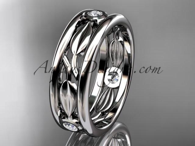 Wedding - platinum diamond leaf wedding band, engagement ring ADLR401B
