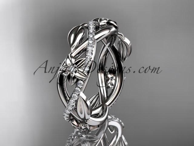 Свадьба - platinum diamond leaf and flower wedding band, engagement ring ADLR403B