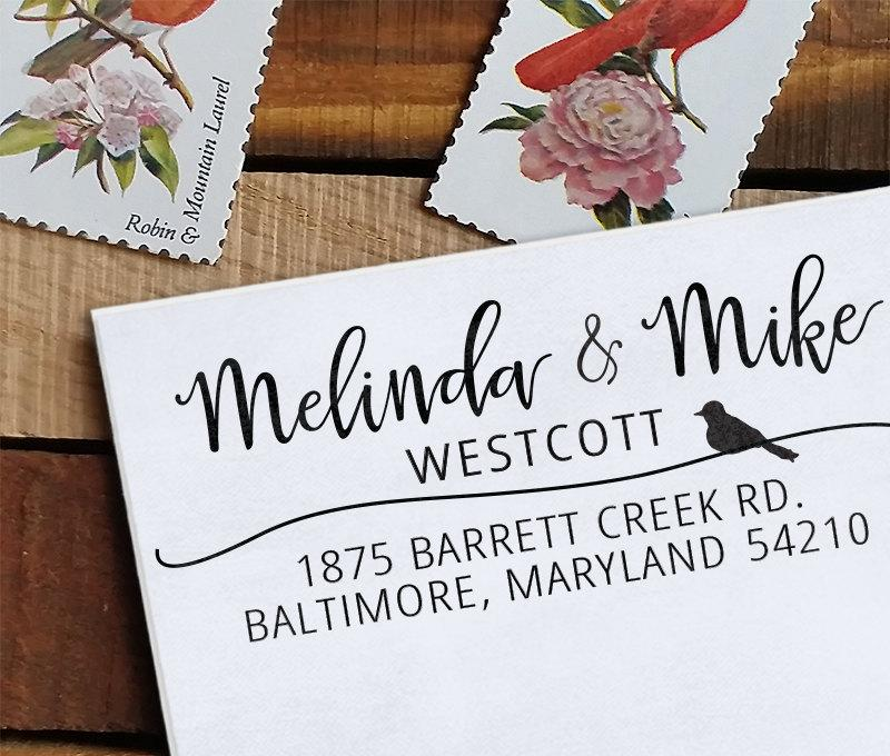 زفاف - Custom Address Stamp, Calligraphy Stamp, Wedding Stamp, Eco Mount Rubber Address Stamp - Wedding Stamp - Calligraphy Bird