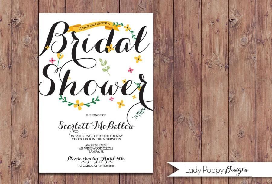 Mariage - Charm Floral Scarlett Printable Bridal Shower Invitation - DIY Card - Custom colors option