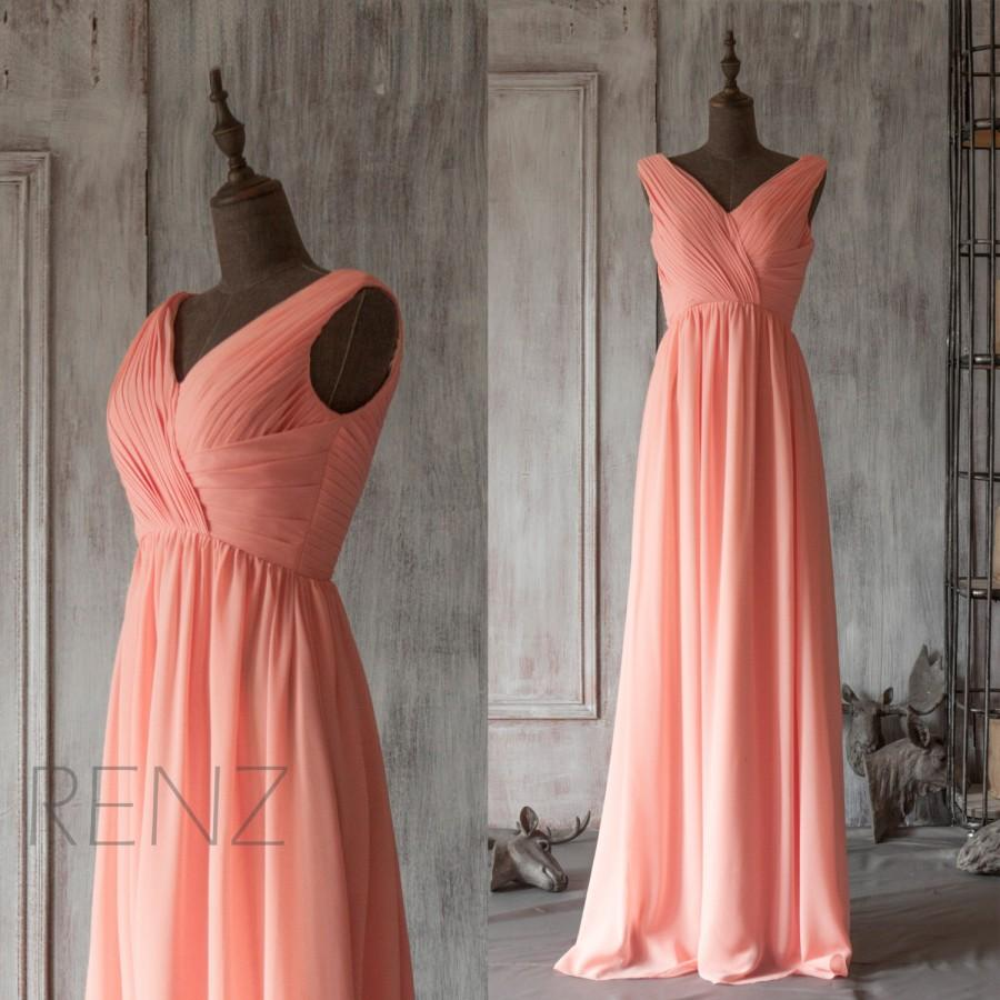 2015 Long Coral Bridesmaid Dress, Blush Pink Wedding Dress ...