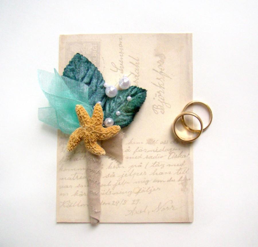 Hochzeit - Starfish Boutonniere, Beach Wedding, Groom's Flower, Groomsmen, Aqua and Teal Wedding, Destination Wedding, Beach Ceremony
