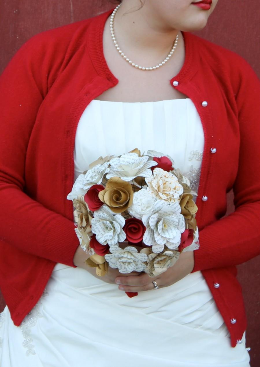 Red Gold Lace And Book Paper Flower Bridal Bouquet 2409620