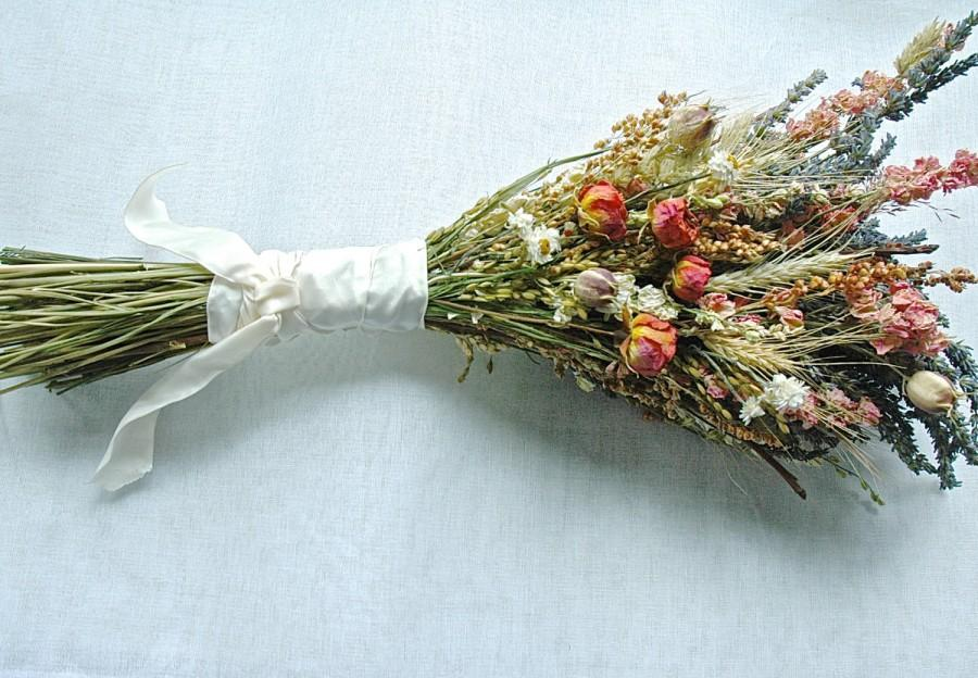 Свадьба - Fall Wedding  Bridesmaid Bouquet of Lavender Roses Larkspur Wheat and other dried flowers