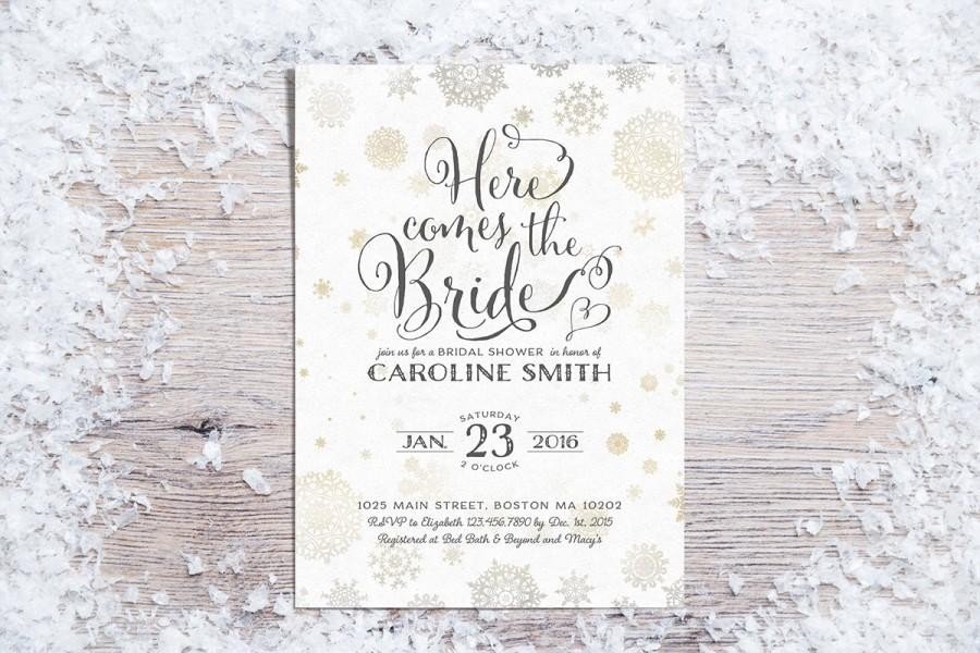 Printable Bridal Shower Invitations, Winter Bridal Shower Invitation,  Holiday Bridal Shower Invite, Snowflakes, Gold (3 Colors   01)