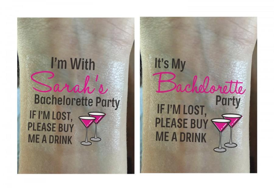 Mariage - Bachelorette Party Temporary Tattoos Bachelorette Tattoos - If I'm Lost, Please Buy Me A Drink - Wedding Tattoo - Bachelorette Favor