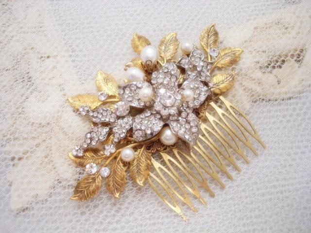 Свадьба - Wedding hair comb, Bridal hair comb, Wedding headpiece, Leaf hair comb, Bridal hair clip, rhinestone headpiece, Vintage style hair comb