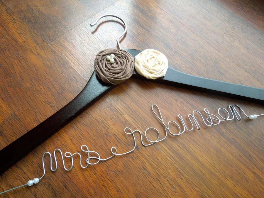 Mariage - Personalized Wedding Dress Hanger for Bride or Bridesmaid