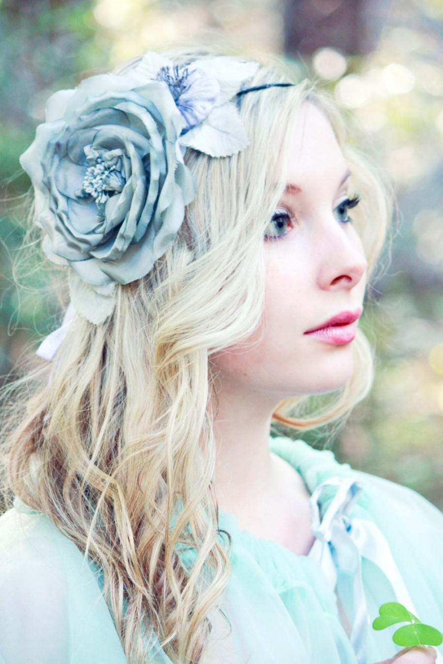 Mariage - Silk Chiffon Rose, Bridal Accessories, wedding Flower Hair Clip, Bridal Hair Clip, Flower for Hair