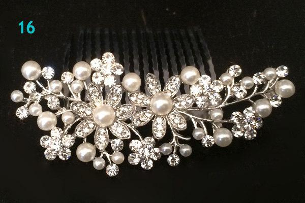 Silver Plated Off White Ivory Pearl Austrian Crystal Bridal Hair