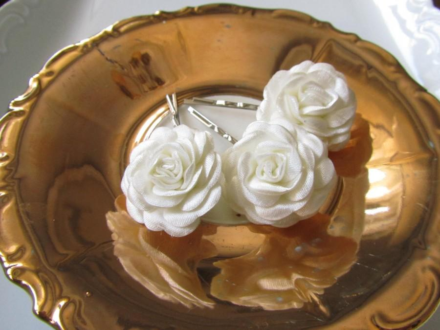 Mariage - Ivory hair flowers - Bridal hair flowers - 3 pcs