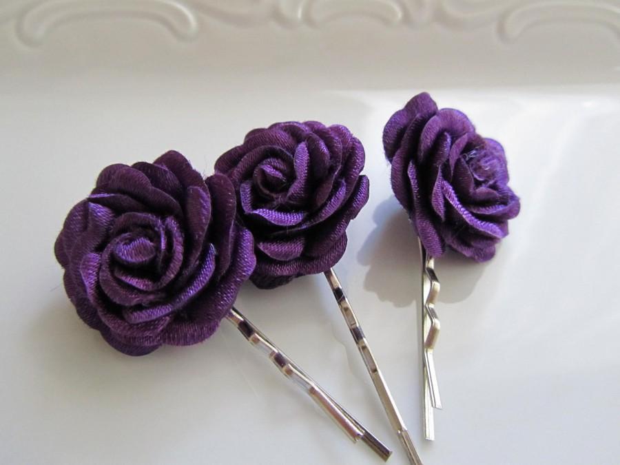 Mariage - Purple hair flowers - Bridal hair flowers - Bridesmaids hair flowers - 3 pcs