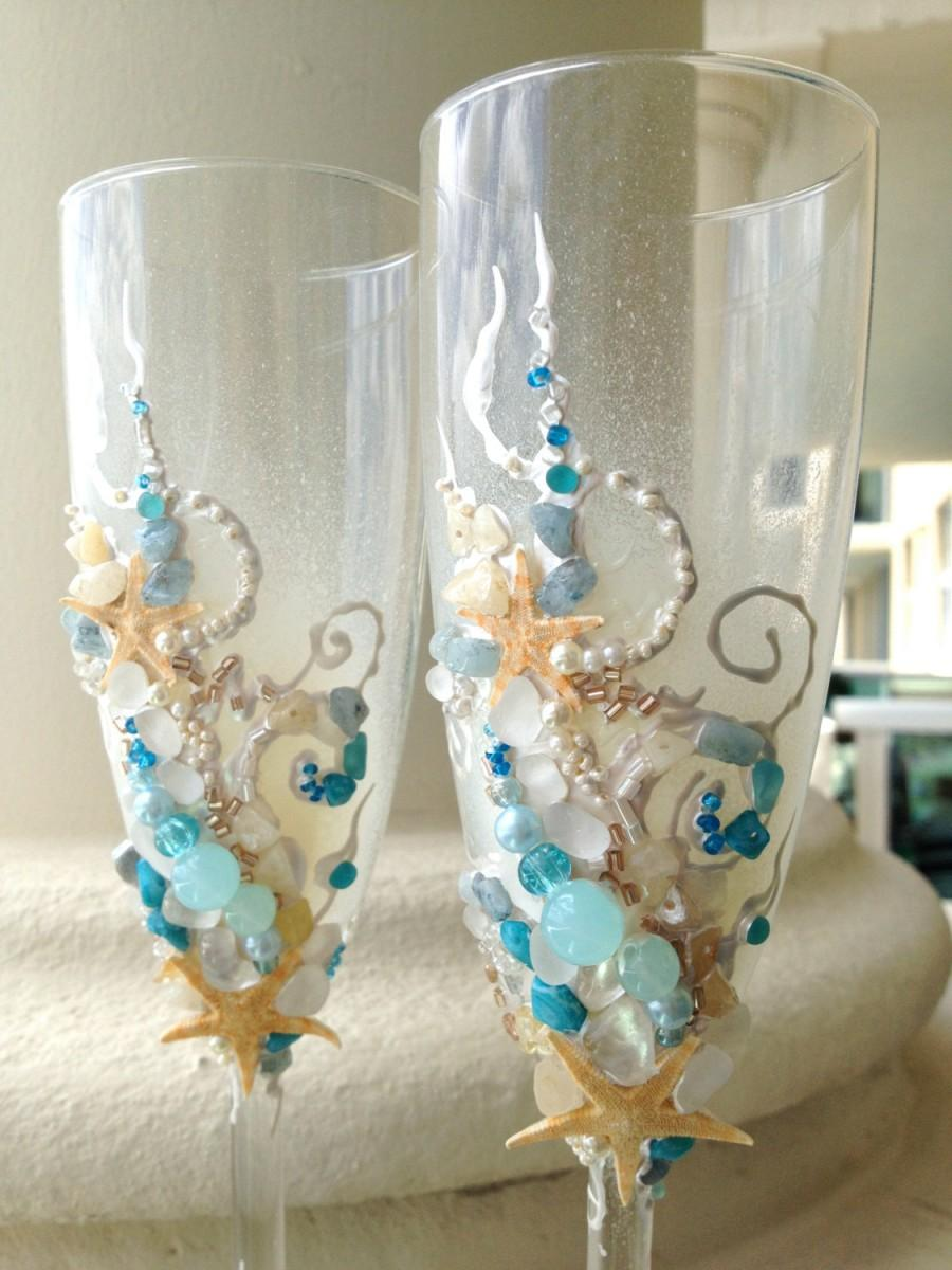 Beach Wedding Toasting Flutes Starfish Glasses In Aqua Ivory And Champagne Colors Destination Idea Bridal Shower Gift