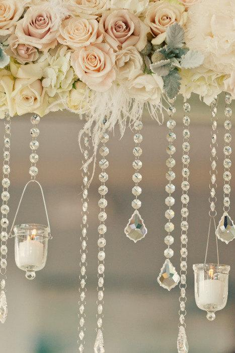 Wedding - 10 Crystal Hanging Candle Holders Suspended by 10 Feet of Glass Crystal Garlands Crystal Candle Holders Crystal Candle Holders