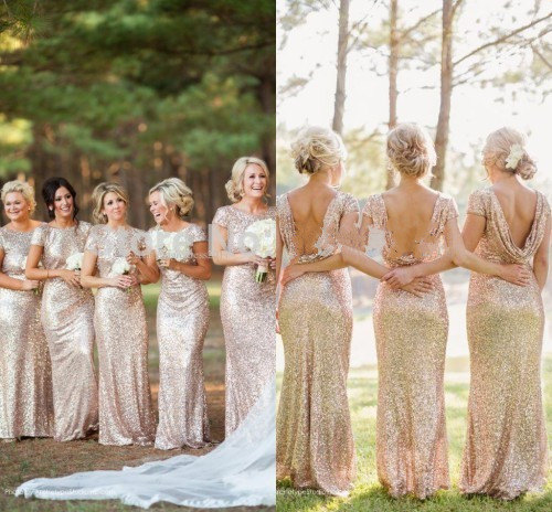 Hanyige Cowl Back Bridesmaids Dresses Gold Sequins Formal Champagne Evening Special Occasion Bridal Party Dress
