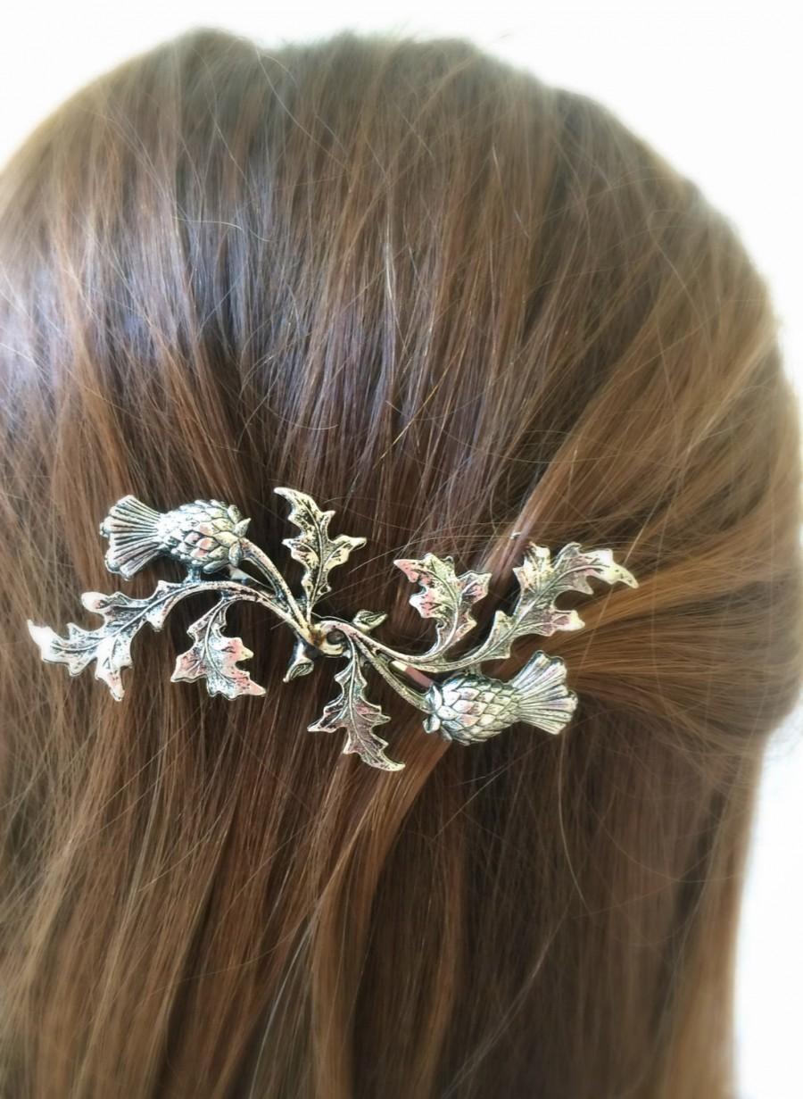 Mariage - Silver Scottish Thistle Hair Pin leaf Bobby Pin Bridal Hair Pin Bridal Hair Clip Scottish Bridal Hair Wedding hair -SOLDERED NOT GLUED!