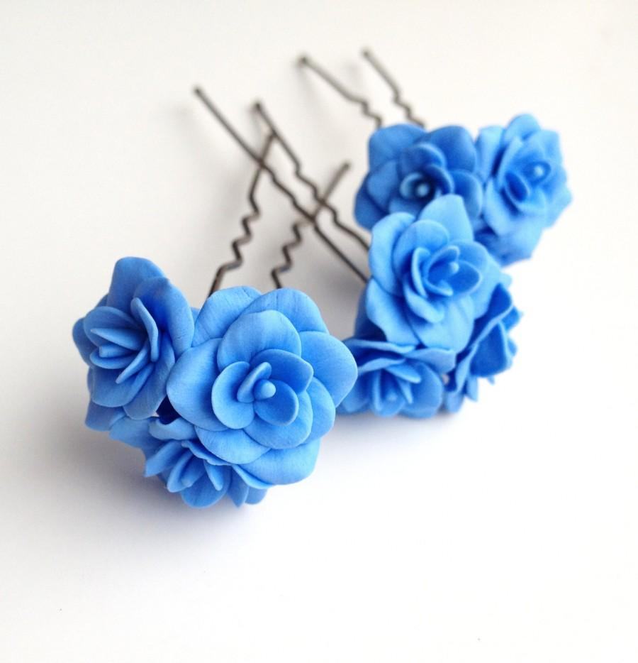 Blue flower pin blue flower hair pin bobby pins flower pin blue flower pin blue flower hair pin bobby pins flower pin polymer clay blue flower hair pin blue wedding jewelry blue bobby pin izmirmasajfo
