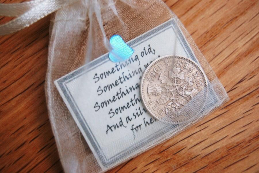 Mariage - Lucky sixpence bridal gift something blue traditional good luck charm