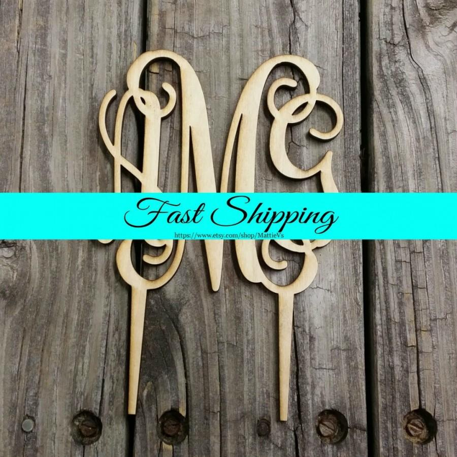 """Mariage - 5"""" Wooden Monogram Cake Topper - Unfinished Wood Monogram - Custom Monogram Cake Topper - Wedding Cake Decor - Wood Letters"""