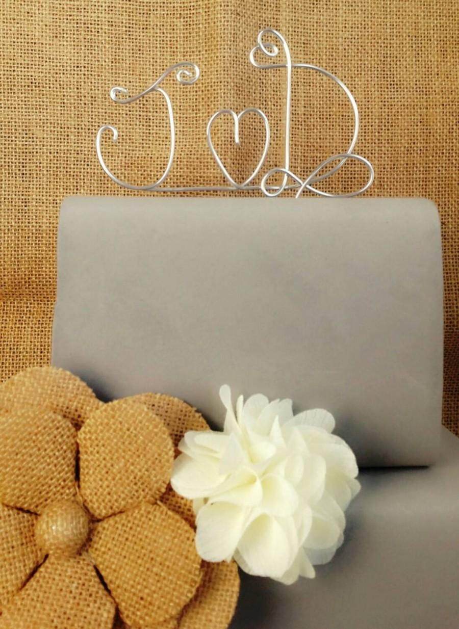 Initials Cake Topper, Wedding Cake Topper, Rustic Wedding ...
