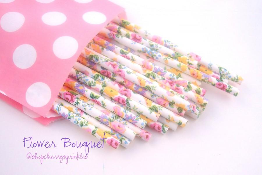 Mariage - Pink Floral paper straws -Vintage wedding decor, flower straws, Rustic Wedding or Shower, Tea Party Vintage Floral party Straws *PINK