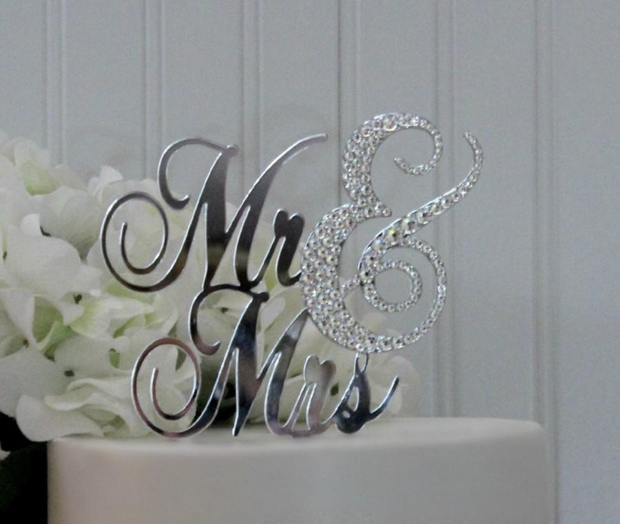 Mariage - Free Keepsake upgrade! Mr & Mrs Cake Topper Partially Decorated with Swarovski Crystals.  Now Available with removable cake stakes!