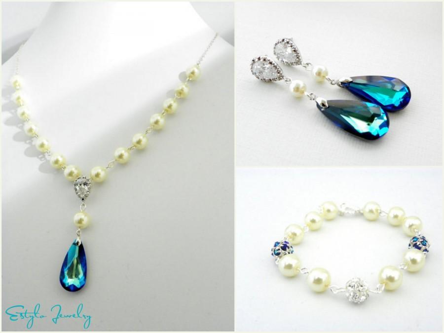 Свадьба - Ivory Pearl Wedding Set, Bermuda Blue Swarovski Teardrop, Peacock Wedding, Necklace Earrings and Bracelet Set, Bridal Jewelry Set, Something