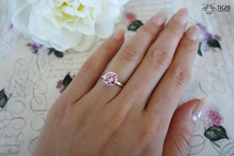 Свадьба - 2 Carat Engagement Ring, Classic Solitaire Ring, Man Made Pink Diamond Simulant, Wedding Ring, Bridal Ring, Promise Ring, Sterling Silver