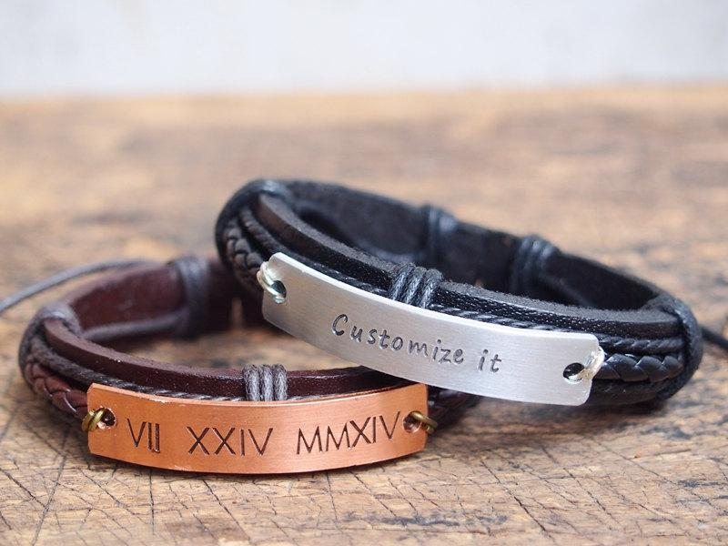 Mens Personalized Bracelet Men S Customized Roman Numeral Engraved Anniversary Boyfriend Gift