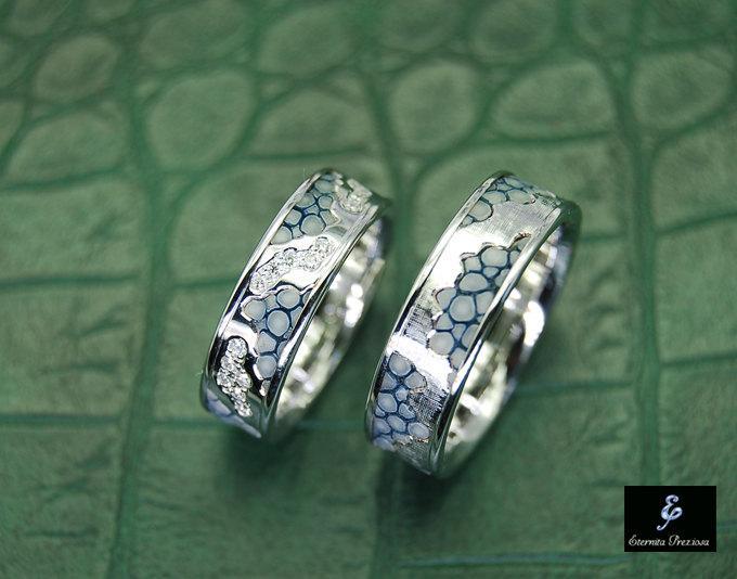 Mariage - 18K White Gold with Diamonds Wedding Ring Set, Unique Wedding Bands, 18K Gold Ring Set, 18K Gold with Diamonds & Leather Wedding Bands