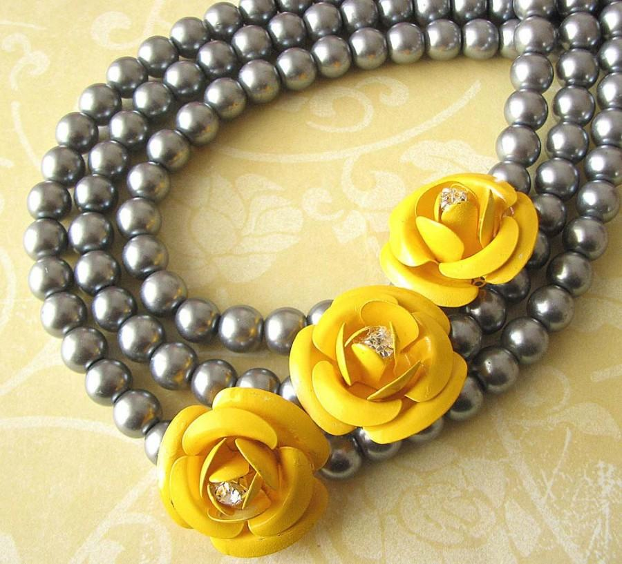 Wedding - Statement Necklace, Bridal Jewelry, Flower Necklace, Bridesmaid Jewelry, Gift For Her, Bridal Wedding Necklace Gray and Yellow