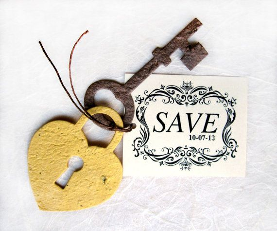Mariage - Seed Paper Lock And Key Save The Date Announcement Wedding Favor - Plantable Flower Seed Paper- DIY Supplies