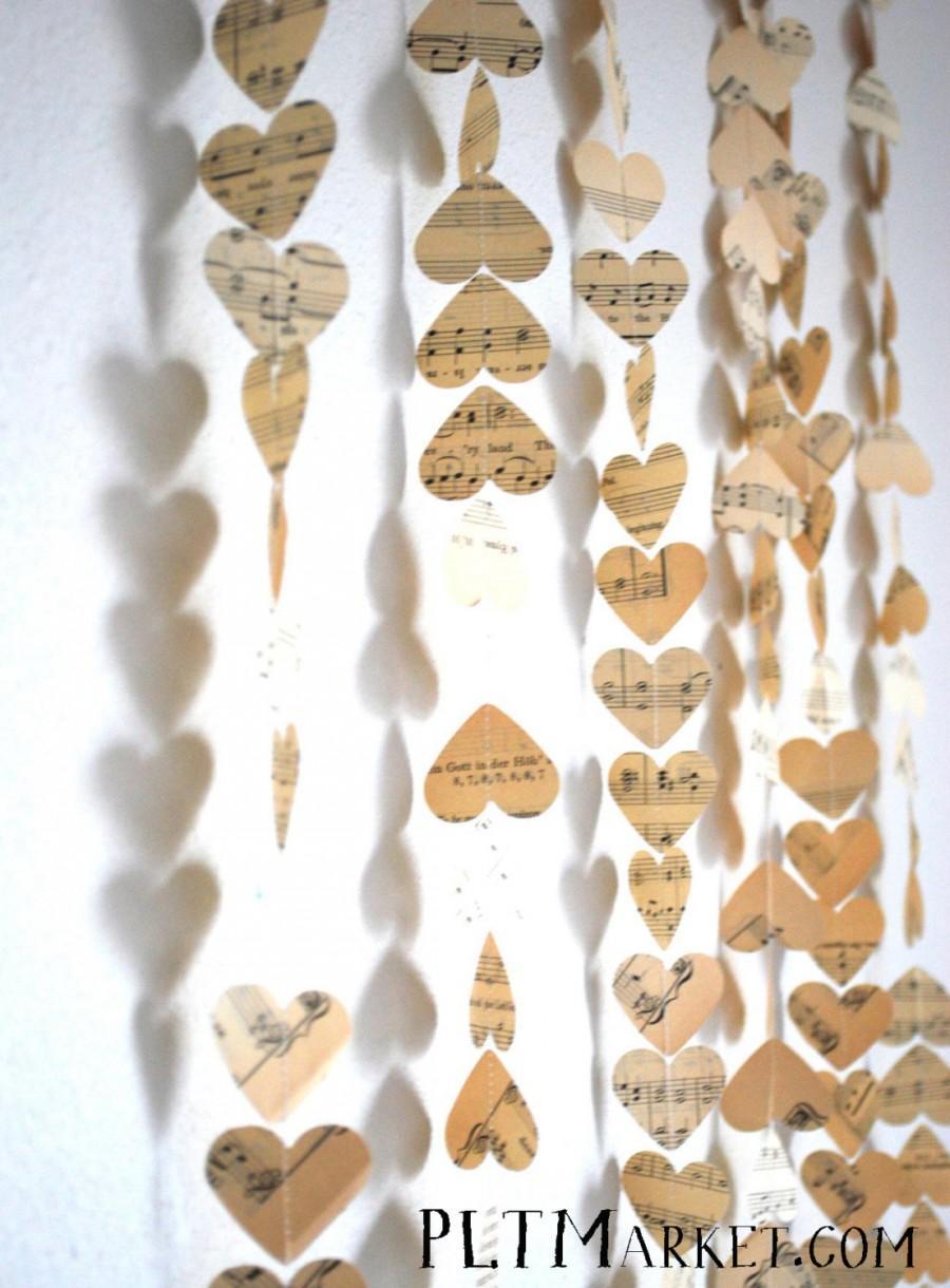 Mariage - Vintage Music Hearts Garland