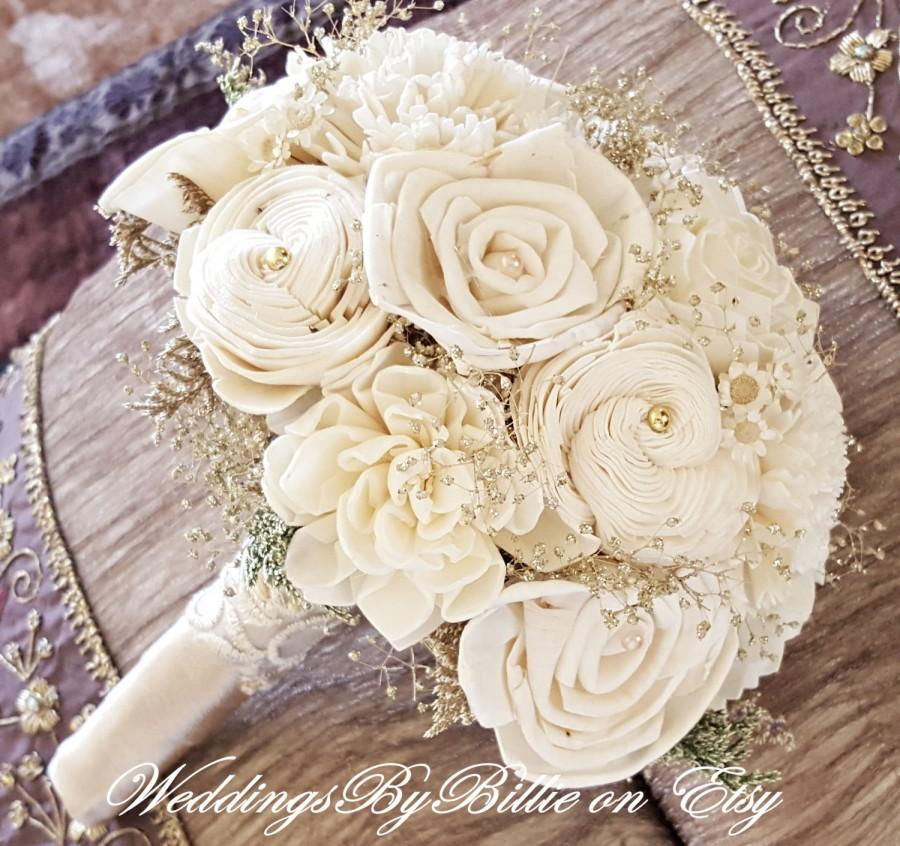 Weddings, Champagne Ivory Sola Bouquet, Wedding Flowers, Rustic ...