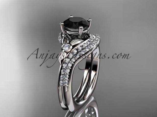 Свадьба - 14kt white gold diamond leaf and vine engagement ring set with a Black Diamond center stone ADLR112S