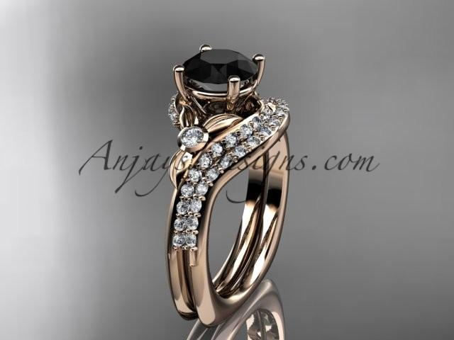 Wedding - 14kt rose gold diamond leaf and vine engagement ring set with a Black Diamond center stone ADLR112S