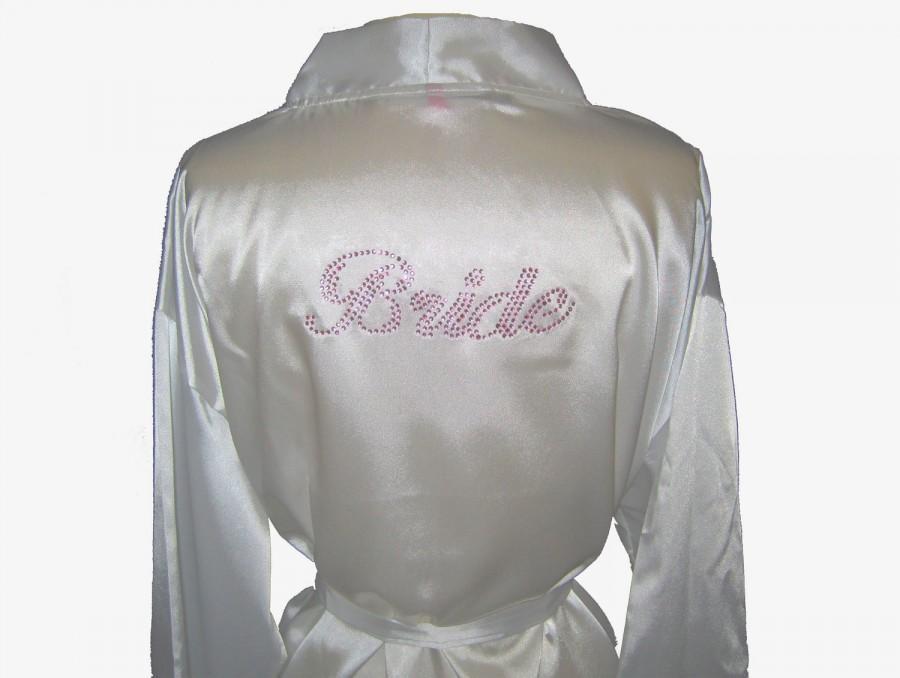 Wedding - Bride Robe, Bride Robe Satin, White Robe, Satin Robe, Bride Gift, Bridal Shower Gift, Bridesmaid Robes, Bride Robe Lace, Bridal Robe, Lace