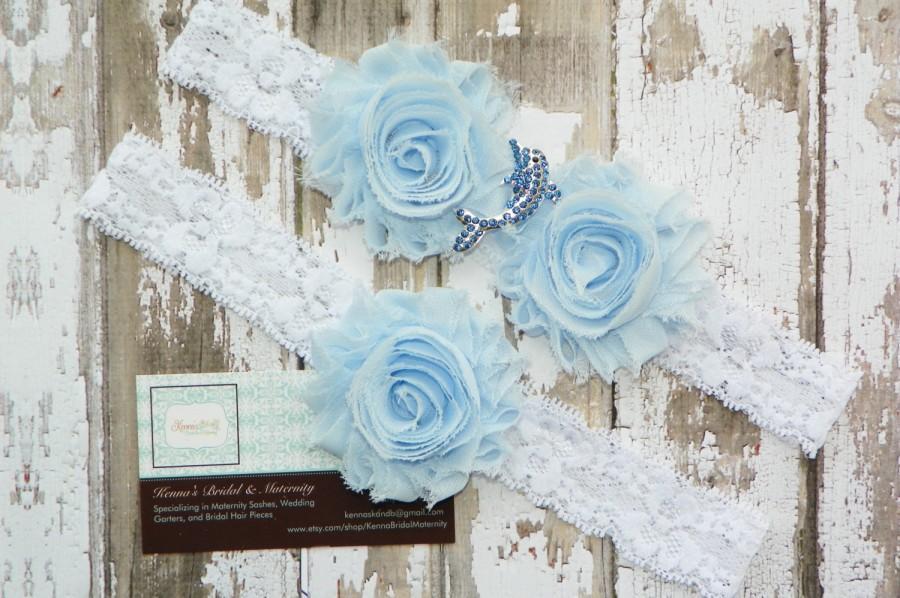 Hochzeit - Dolphin Wedding Garters, Porpoise Garter Set, Rhinestone Dolphin, Beach Wedding, Destination Wedding, White Lace Garter, Ocean Wedding, Blue