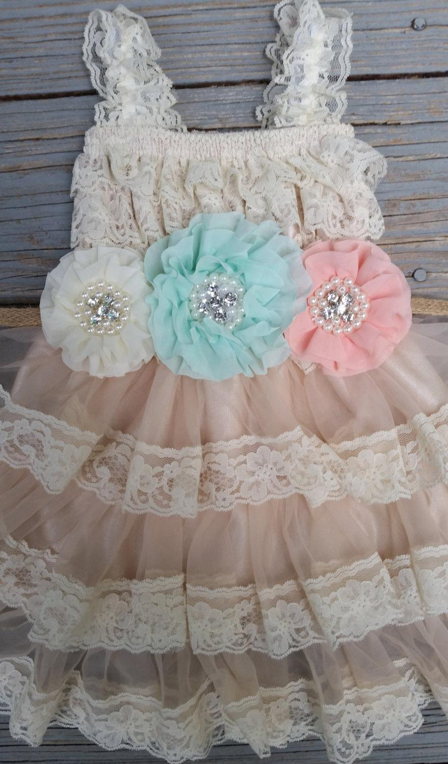 Wedding - Mint-Peach-Ivory Flower Girl Lace Dress/Rustic Flower Girl-Champagne Flower Girl/Country Wedding-Mint-Flower Girl Dress-Shabby Chic