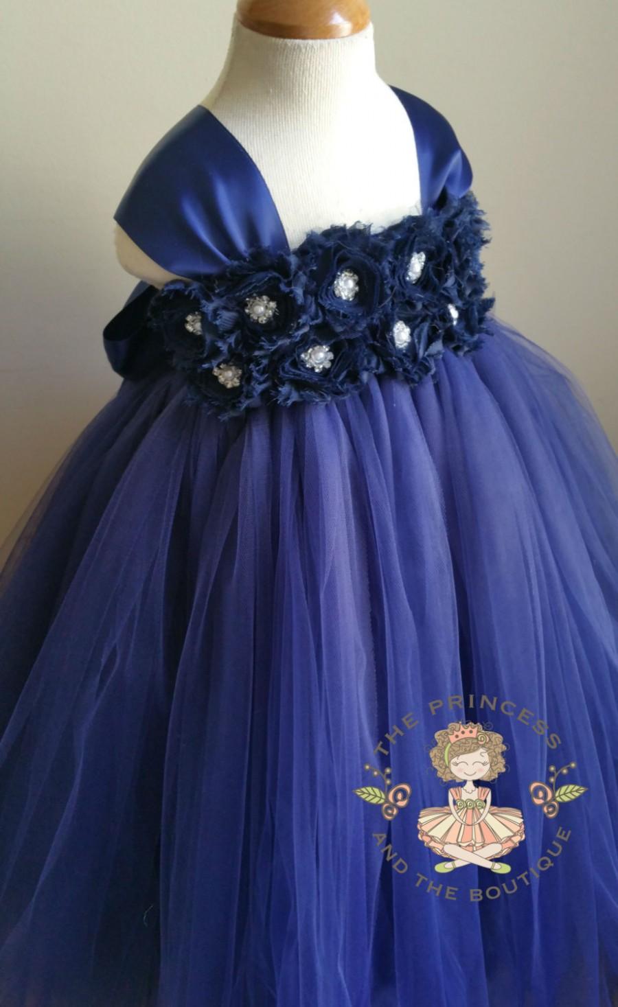 Navy Blue Tutu Flower Girl Dresses 44